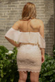 Forever Almond Off Shoulder Lace Bodycon Dress back view.