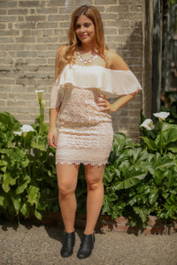 Forever Almond Off Shoulder Lace Bodycon Dress full body front view.