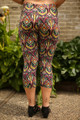 Tribal Jewels Geometric Printed Butter Soft Cropped Leggings back view.