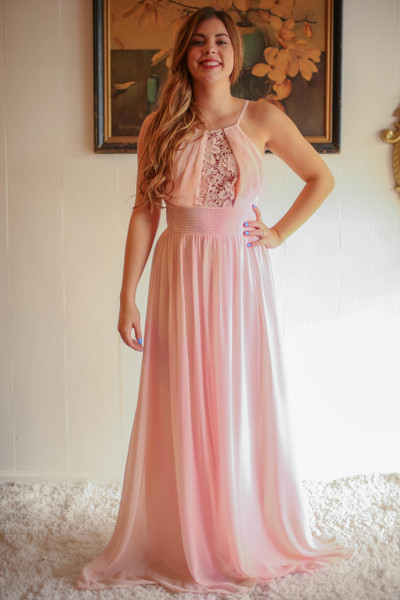 Princess in Peach Blush High Neck Column Dress with Sheer Lace Accent front view.
