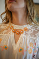 Orange Crystal Flower Statement Necklace