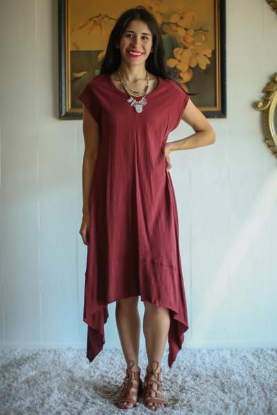 Beauty in Burgundy Asymmetric Midi Tunic Dress full body front view.