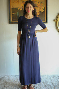 Simply Basic Navy Maxi Dress front view.