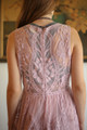 Lovely Lady Light Mauve Sleeveless Plunging Maxi Dress back detail view.