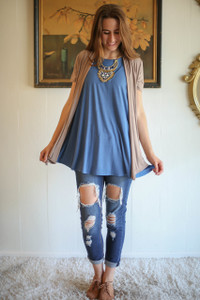 Simply Basics Mocha Short Sleeve Open Front Cardigan full body front view.