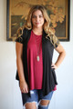 Simply Basics Black Short Sleeve Open Front Cardigan front view.