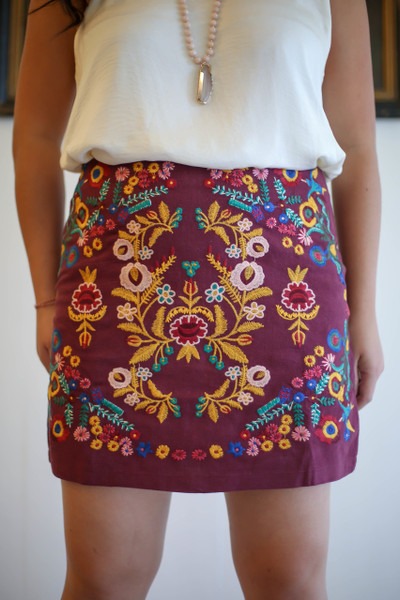 Stitched to Perfection Wine Floral Embroidered Mini Skirt front view.