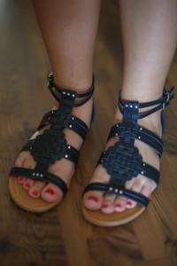 Achillia Black Weaved Gladiator Sandals