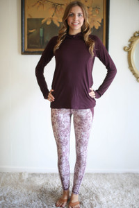 Activated Athletics Plum Long Sleeve Hoodie with Pocket full body front view.