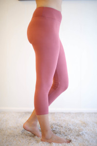 Marsala Butter Soft Cropped Leggings with Yoga Band side view.