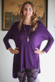 Simply Basics Eggplant Slouchy 3/4 Sleeve Top front view.