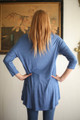 Simply Basics Blue Indigo Slouchy 3/4 Sleeve Top back view.