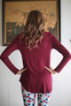 Simply Basics Wine Rose Long Sleeve Top back view.