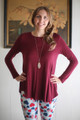 Simply Basics Wine Rose Long Sleeve Top front view.