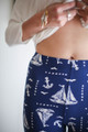 Anchors Away Blue and White Printed Butter Soft Leggings waist view.