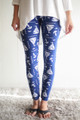 Anchors Away Blue and White Printed Butter Soft Leggings front view.