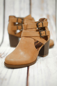 Autumn Tan Cut Out Ankle Bootie with Buckles