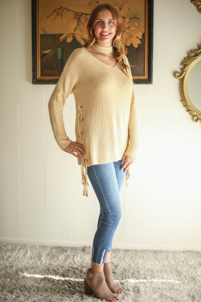 Sweet Cream Sweetie Lace Up Choker Sweater full body front-side view.