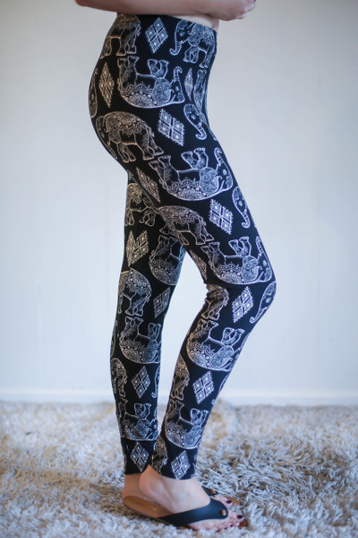 Diamond Elephant Black and White Printed Butter Soft Leggings side view.