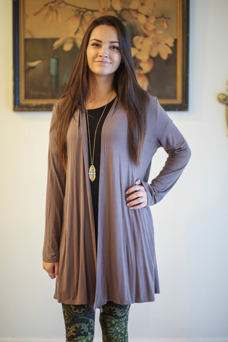 Simply Basics Chocolate Everyday Long Sleeve Cardigan front view.