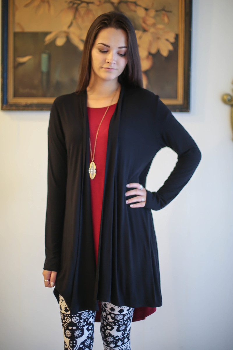 Simply Basics Black Everyday Long Sleeve Cardigan front view.