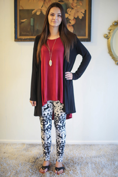 Simply Basics Black Everyday Long Sleeve Cardigan full body front view.
