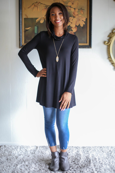 Simply Basics Black Long Sleeve Cowl Neck Tunic full body front view.