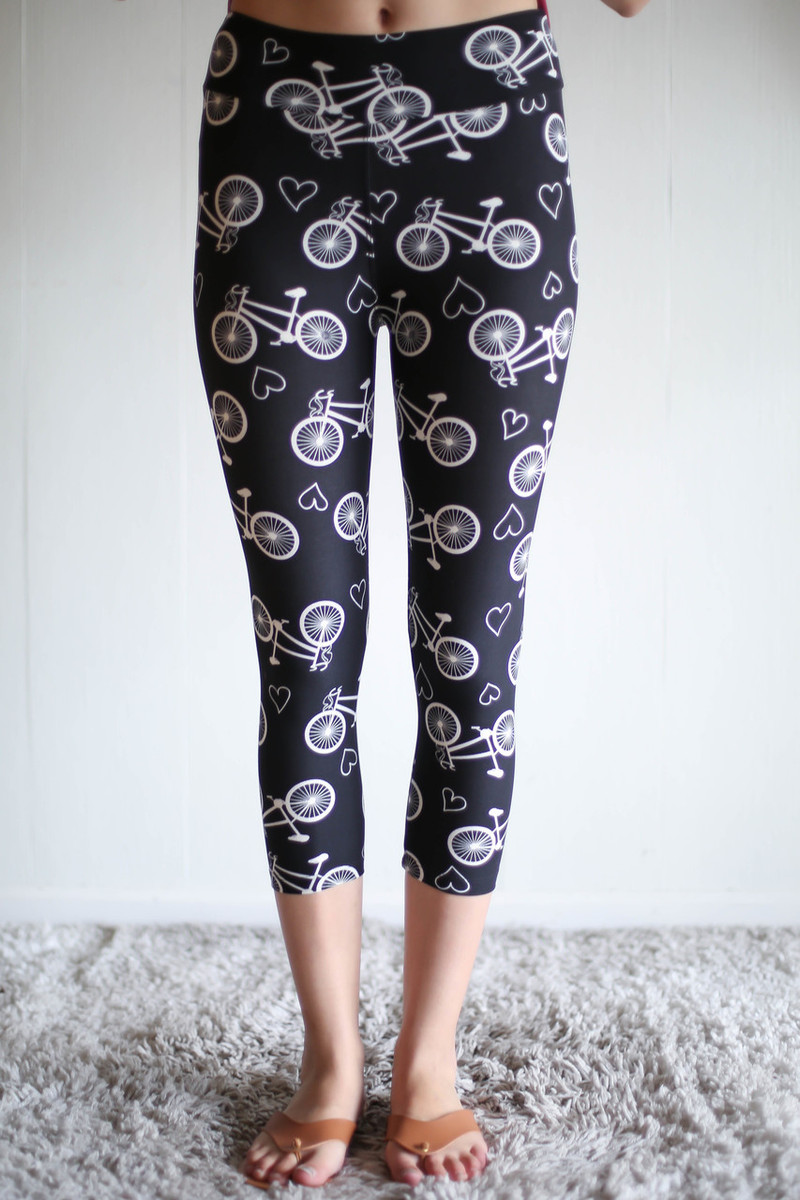 Bicycle Love Printed Butter Soft Cropped Leggings with Yoga Band front view.