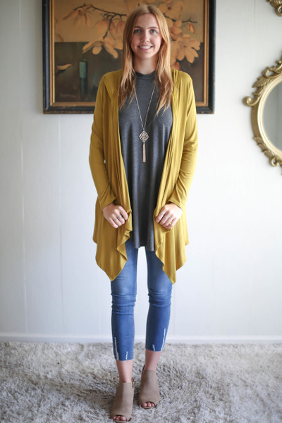 Simply Basics Dark Mustard Handkerchief Cardigan with Hood full body front view.