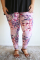 Blossoming Pastel Floral Printed Butter Soft Leggings in Plus front view.