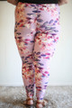 Blossoming Pastel Floral Printed Butter Soft Leggings in Plus back view.