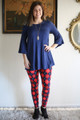 Curvy Red, Navy & White Argyle Butter Soft Leggings full body front view.