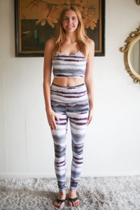 Activated Athletics Zen Stripe Printed Sports Bra full body front view.