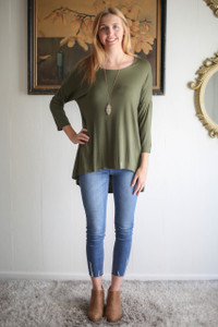 Simply Basics Army Green Slouchy 3/4 Sleeve Top full body front view.