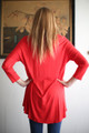 Simply Basics Red Slouchy 3/4 Sleeve Top back view.