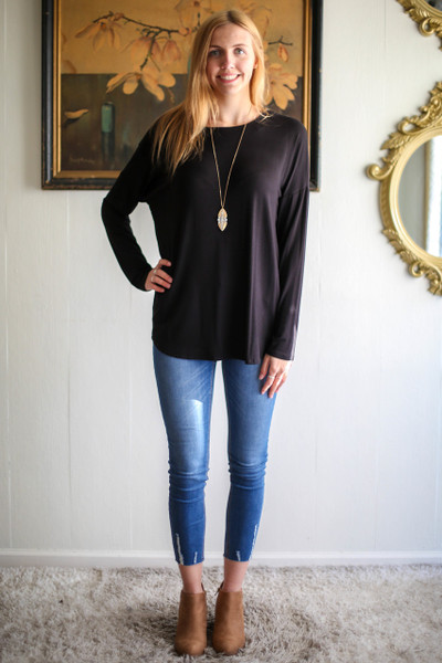 Simply Basics Black Comfy Long Sleeve Tunic full body front view.