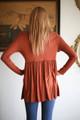 Simply Basics Hazelnut Long Sleeve Ruffle Tunic back view.
