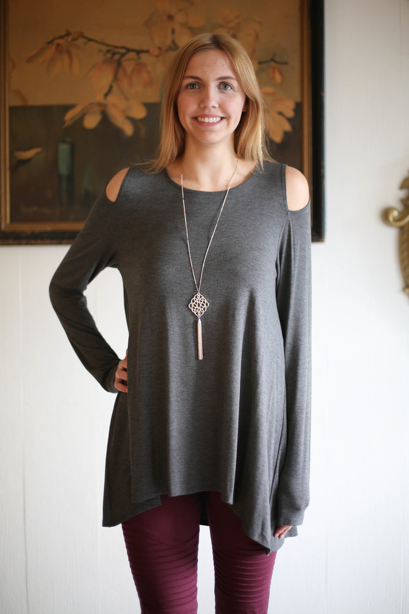 Simply Basics Charcoal Cold Shoulder Cutout Tunic front view.