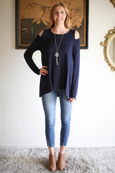 Simply Basics Navy Cold Shoulder Cutout Tunic full body front view.