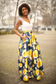 All for Love Ivory and Yellow Floral Gown with Pockets front-side view.