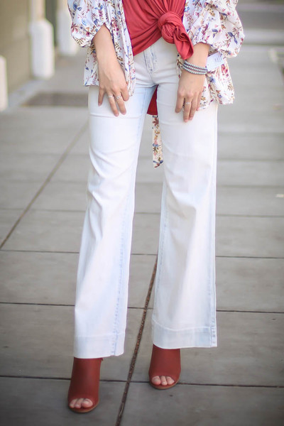 Sweet Denim Days Light Wash Wide Leg Pants front view.
