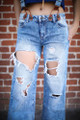 All for Acid Wash Bell Bottom Distressed Jeans with Suspenders front detail view.