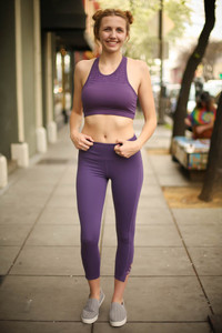 Activated Athletics Dark Violet High Neck Racerback Sports Bra full body front view.