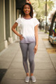 Lavender Lovely Ombre Open Back Work Out Top full body front view.