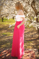My Oh My Ivory and Sangria Floral Embroidered Gown with Pockets side view.