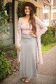 All Together Now Heather Grey Maxi Skirt with Lace Up Sides full body front view.