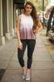 Don't Fade Away Light Mauve Ombre Open Back Work Out Top full body front view.