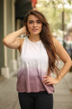 Don't Fade Away Light Mauve Ombre Open Back Work Out Top front view.