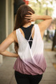 Don't Fade Away Light Mauve Ombre Open Back Work Out Top back view.