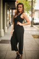 Fierce Power Black Jumpsuit with Lace Up Back side view.